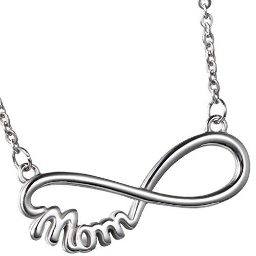 Oidea–collana da donna con ciondolo, acciaio inossidabile mamma infinity infinito simbolo ciondolo con catena collare, argento