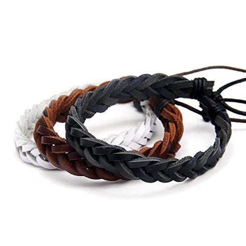 DonDon® Unisex-Armband Set 3 Stück Leder weiß-braun-schwarz