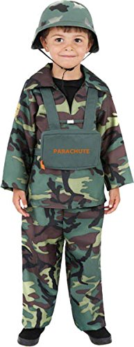 Smiffys Kinder Soldaten Kostüm für Jungen, Oberteil, Hose und Rucksack, Größe: M, (Kostüme Tag Italienisch)