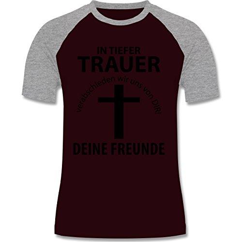 JGA Junggesellenabschied - In tiefer Trauer - zweifarbiges Baseballshirt für Männer Burgundrot/Grau meliert