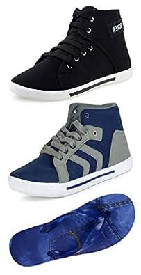 Jabra Men's Multicolor Combo Of 2 Casual Shoes & Slipper (8)