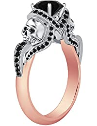 Silvernshine 1.52Ct Black CZ Diamond 14K Rose & White Gold Plated Engagement Two Skull Design Ring