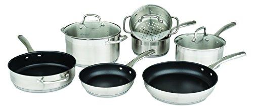 allrecipes Edelstahl-Kochgeschirr-Set mit Aluminiumguss Schmorpfanne und Braten Pfannen, 10Stück