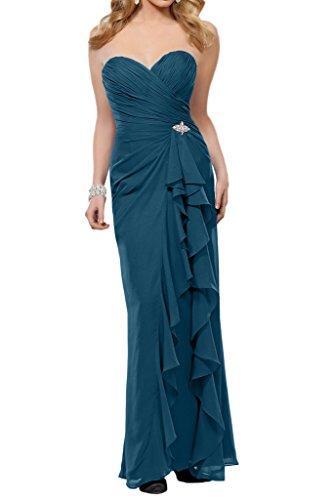 La_Marie Braut Chiffon Einfach Brautjungfernkleider Festlich Damen Formale Partykleider Bodenlang Schmaler Schnitt Dunkel Blau