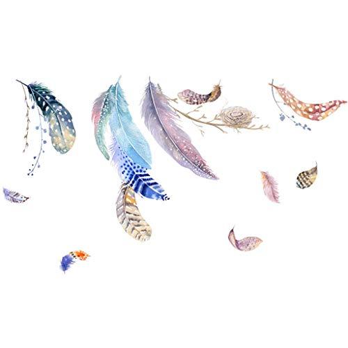 Preisvergleich Produktbild Modely Nordic Ins Wind Wandaufkleber Sofa Hintergrund Wanddekoration Wandmalerei Im Sommer kühl und gemütlich Einzigartiger chinesischer Stil Feder Blume Wandaufkleber (B,  45X60cm)