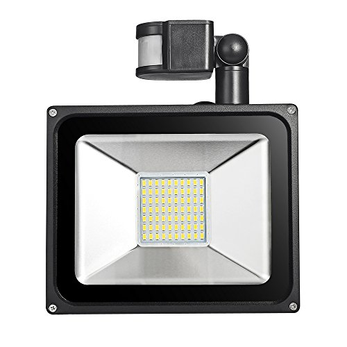 Motion Sensor Light, Outdoor LED Super Bright 50W, 3500 Lumen, Adjustable On-Time and Sensitivity, PIR Floodlight, Soft White(2800-3500K), Waterproof IP65, Security Light, AC 200-240V - Outdoor Motion Sensor