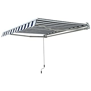 Outsunny 2.5 x 2 m Garden Patio Manual Awning Canopy Sun Shade Shelter with Winding Handle - Blue/White