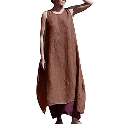 SCEMARK Damen Beiläufig Solides ärmelloses Kleid Langes Leinenkleid mit Rundhalsausschnitt und Tasche Langes Shirt Lose Tunika T-Shirt Kleid (M, Braun-1) -
