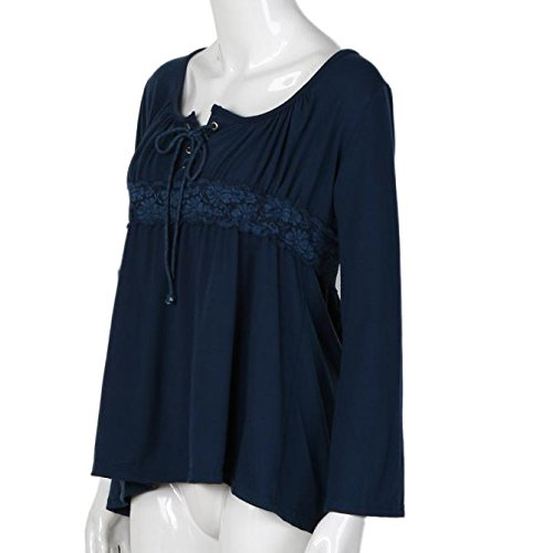 Tonsee Mode Femmes Loose manches longues Casual Tops Blouse Bleu-2