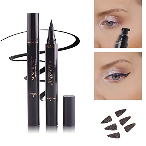 ROPALIA Liquid Eyeliner Pen+Stamp Stencils Seal Smoky Eye Eyebrows Tattoo Stamp
