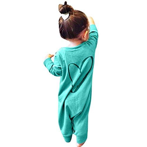 Sannysis Neugeboren Baby Jungen Mädchen Printing Romper Overall Outfits Kleidung(6-24Monat) (80, Grün)