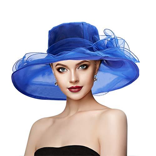 Dafunna Hut Damen Sommer, Organza Damen Hut Sommerhut für Strandhut, Kirche, Party & Hochzeit, Elegant Sonnenhut blau Fascinator, faltbar hüte Damen