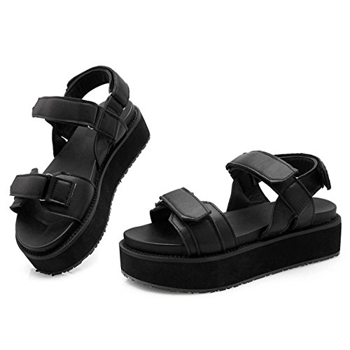 TAOFFEN Femmes Chaussures Mode Bout Ouvert Plateforme Sandales De Scratch Noir