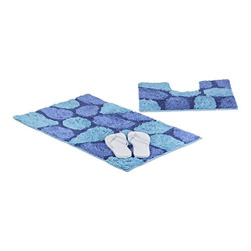 Relaxdays Badgarnitur 2-teilig in Steinoptik, Für Fußbodenheizung, Waschbar, Badematte und WC-Vorleger, Mit Ausschnitt für Stand-WC, 80 x 50 cm, blau