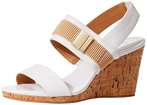 Calvin Klein Brandie Damen US 7.5 Weiß Keilabsätze Sandale