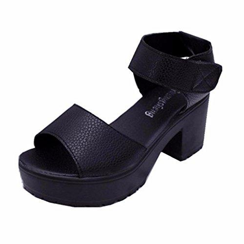 Damen Sandalen, Dasongff Damen Sandalen mit Absatz Lässige Einfache Hochhackige Sandalen Schuhe High Heel Gladiator Sandalette Bequeme Berufssandale Freizeit Party Schule (38, Schwarz) (Gladiator-sandalen Heel)