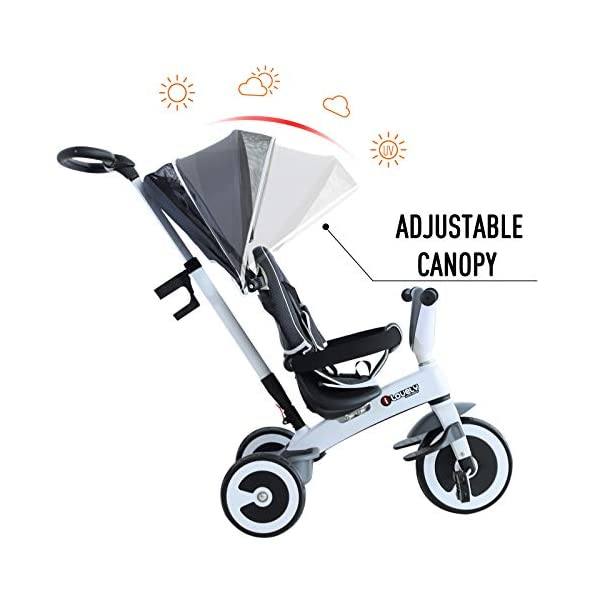 Yuldek - Baby Tricycle Children's 4-in-1 Trikes Kids Stroller W/Canopy Dark Grey - 4-in-1 Tricycle for 18 Months and Above - Tricycle with Canopy and Back Support YulDek Easy Control Brakes - The two independent brakes on the back wheels of this tricycle make it convenient for parents to control and stop the tricycle whenever they want. Storage Basket - This 4-in-1 trike for babies has a storage basket at the back to carry your kids' toys or to store essentials. Adjustable Canopy - Removable and adjustable canopy of this kids cycle offers your kids with alternative choices of protecting them from UV or enjoying the sunshine. 7