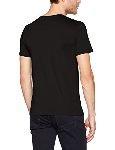 TOM TAILOR Denim Herren T-Shirt NOS Crewneck Tee With Prin, Mint Haze, S Schwarz (Black 2999)
