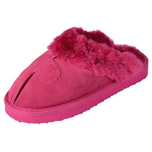 ladies-ego-snugg-suede-mule-slippers-with-faux-fur-trim-lining-dark-pink-uk-6