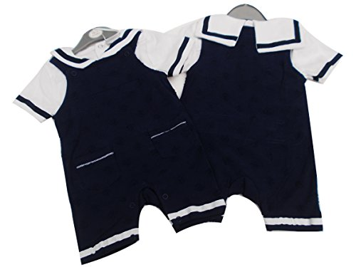 BNWT baby boys navy and white summer sailor suit dungaree & top (0-3 months)
