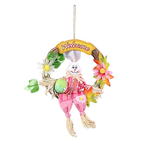 cheuche Hängende Dekoration Kaninchen Vogelscheuche Kranz Wandbehang Anhänger Dekorationen für Osterfest Schule Heim Garten - Rosa ()