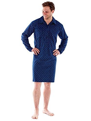 Herren 100 % gebürstete Baumwolle gemütliche Winter PAISLEY Flanell Nachthemd (M-Marine) -
