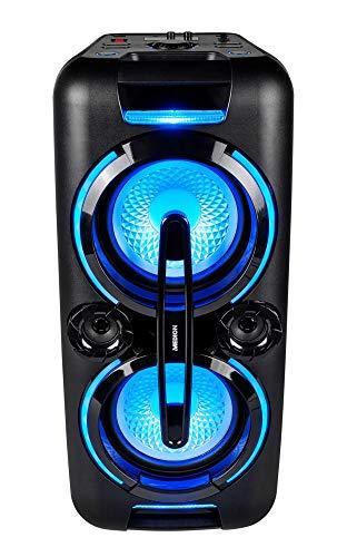 MEDION X61555 Party-Soundsystem (Party Lautsprecher mit Bluetooth 2.1, Akku für bis zu 4 Std., Kompaktanlage, 2 x 350 Watt, X-Bass, PLL UKW, Mikrofonanschluss, Verschiedene Beleuchtungseffeke)