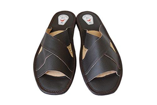 WOJCIAK  Genuine Soft Calf Leather Slippers Sandals Flip-flop, Herren Sandalen Schwarz schwarz Braun