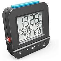 """Hama Funkwecker """"Dual Alarm"""" (zwei Weckzeiten, ansteigender Weckton, sensorgesteuerte Nachtlicht-Funktion, Snooze, Temperatur, Datum, batteriebetrieben) Wecker Digital Funkuhr schwarz"""