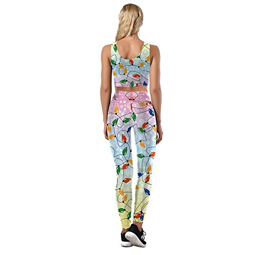 Yalatan Women Joggers Funny Christmas Printing Pants Casual Full Length Trousers Joggers Slim Fit Pants blouse set D