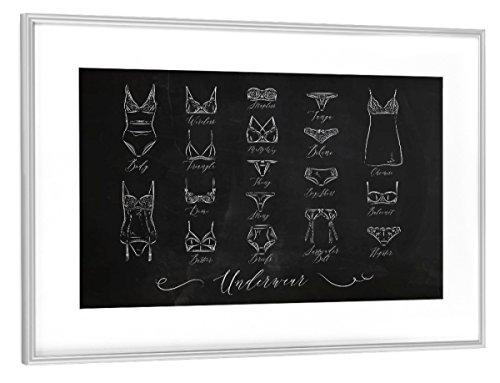 artboxONE Poster mit Rahmen Silber 45x30 cm Underwear Classic Chalk von Anna Kozlenko - gerahmtes Poster - White Classic Thong