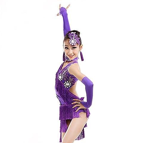Saloon Fille Costume Violet - Enfants latine danse jupes en Latin classement