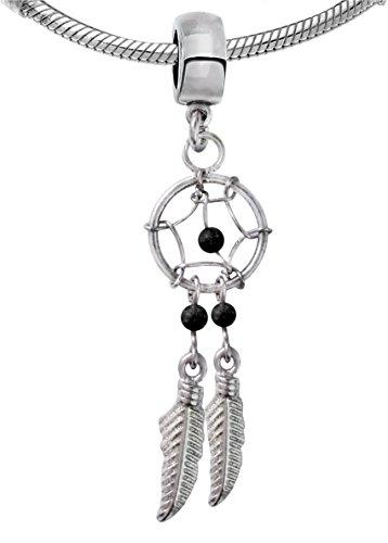 Body trend fascino del pendente acchiappa sogni, argento con pietre preziose reali, realizzato a mano adatto per bracciali in stile pandora di alta qualità e lavorata in velluto., argento, colore: onyx, cod. dreamcatcher-charm-onyx