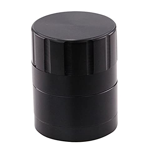 DCOU 40mm Aluminium Grinder mit abnehmbarer Pollen Catcher [Grinds Kraut] - Pollen Scraper inklusive - 4 Stück, Mini, Schwarz