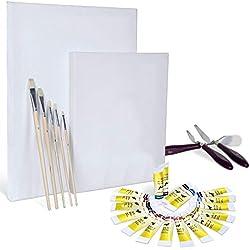 Artina Set de Pintura con Colores acrílicos Malta Set Completo con 2 lienzos, acrílicos Set de Pinceles y espátula Ideal para Artistas y Principiantes