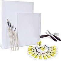 Artina Set de Pintura con Colores acrílicos Set Completo con 2 lienzos, acrílicos Set de Pinceles y espátula Ideal para Artistas y Principiantes