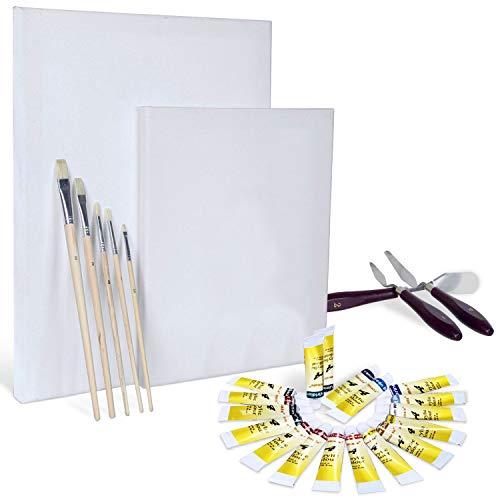 Artina Set de Pintura con Colores acrílicos Set Completo con 2...