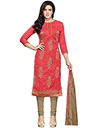 Regalia Ethnic Women's Cotton Dress Material (MFRE155_Free Size_Red)