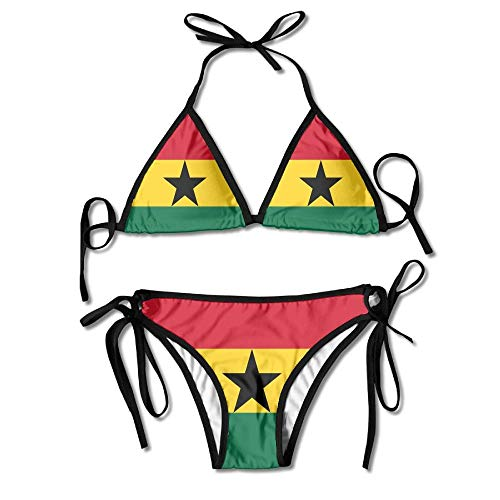Kostüm Boxing Womens - Rghkjlp Ghana Flag Sexy Boxing Bikini Women Halterneck Top and Set Swimsuits Beach Swimming