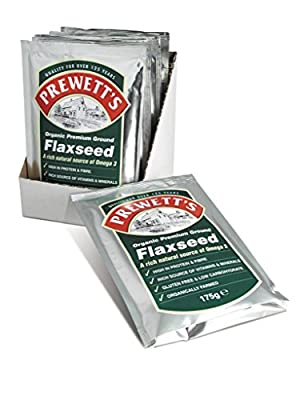 Organic Milled Flaxseed (175g x 6) Bulk Saver Pack Finely ground from Prewetts Health Foods Ltd