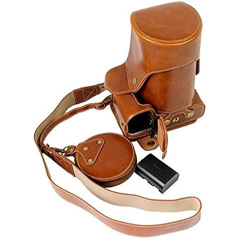 Protección completa inferior abertura de la caja Versión PU de protección de la cámara del bolso de cuero con el trípode Diseño compatible para Canon EOS 5D Mark IV 5D4 con correa para el cuello de la correa de hombro y la tarjeta de almacenamiento caja Brown