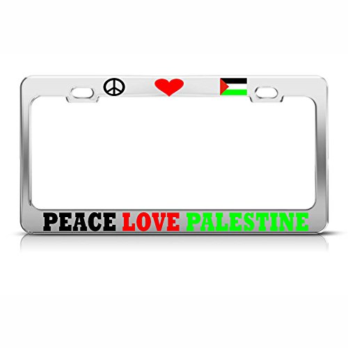 Mond Peace Love Palästina Kennzeichenrahmen Palästina Stolz Chrom Bordüre perfekt für Männer Frauen Auto Garadge Dekor -