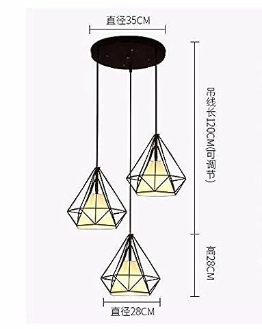 LighSCH Lustres Retro Art fer industriel Diamond Restaurant Pyramide Birdcage 35cm Illumination Accueil rotatif