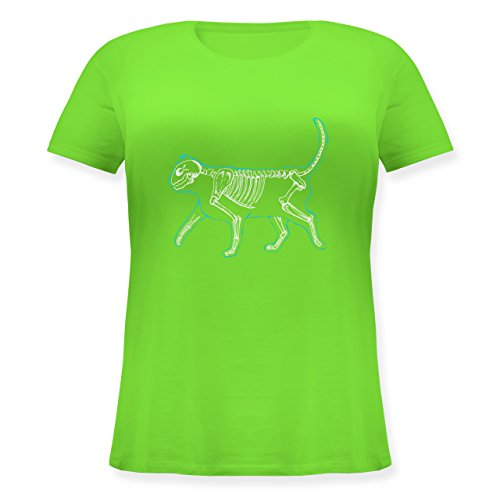 Katzen - Spooky cat - XL (50/52) - Hellgrün - JHK601 - Lockeres Damen-Shirt in großen Größen mit Rundhalsausschnitt