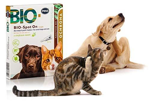 Natürlicher Schutz für Hunde und Katzen I Pess Bio Spot on I Inhaltsstoffe pflanzlichen Ursprungs I Neemöl - eine natürliche Floh- und Zeckenfalle- 4 x 1g Pipetten -
