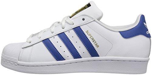adidas Originals Boys' Superstar Foundation J Skate Shoe, White/Eqt Blue/Eqt Blue, 7 M US Big Kid