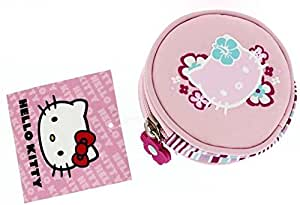 Hello Kitty - Porte-Monnaie Rond Tissu Rose - Collection Aloha - Accessoire de Mode Neuf