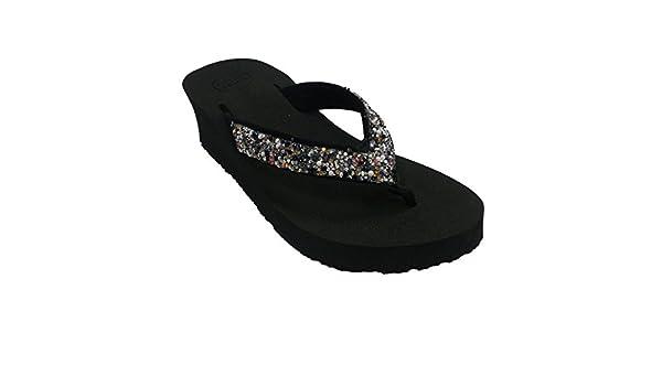 38c02ebdf7ae Gioseppo Flip-Flops Beach Pool Woman With Wedge Rhinestones In Black Size  41 EU  Amazon.co.uk  Shoes   Bags