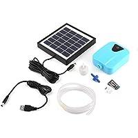 iUcar Solar DC Carga Oxigenador Agua Oxígeno Bomba Estanque Aerador Acuario Airpump - Azul