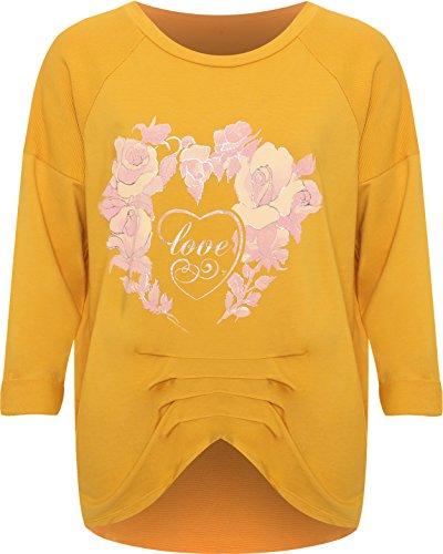 WearAll Femmes Plus Floral Cœur Imprimer Longue Manche Sweat-Shirt Dames Bouffant Strié Haut - 44-56 Moutarde